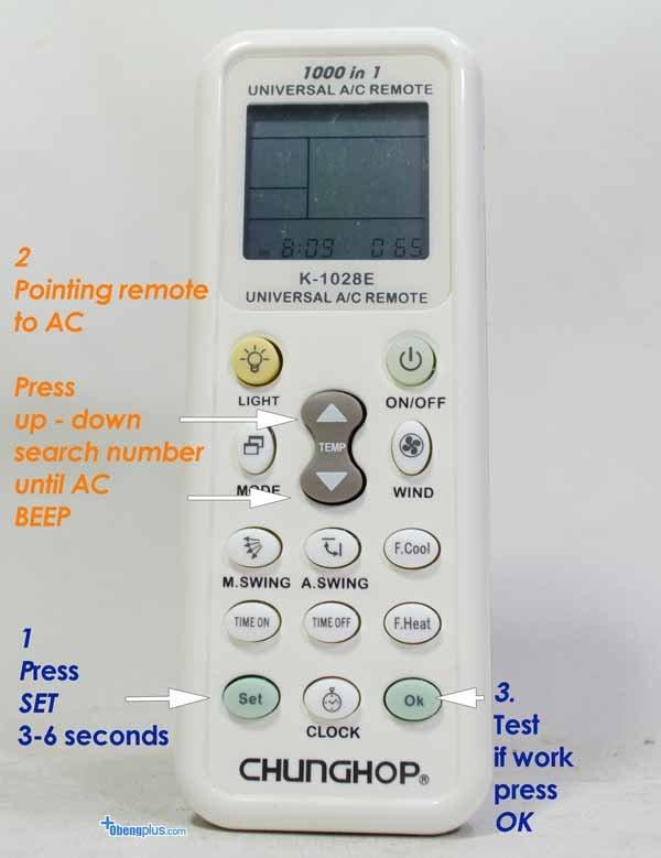 Gambar Cara Setting Remote AC Chunghop